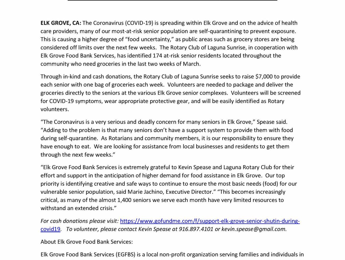 PRESS RELEASE: Feeding Elk Grove Self-Quarantined Seniors